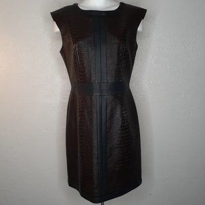 NEW Brown Vegan Leather Crocodile Midi Dress